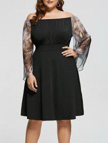 Vestido De Talla Grande Con Vestido De Seda - Negro 5xl