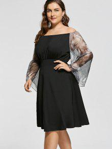 0756a3e5695 31% OFF  2019 Plus Size Off Shoulder Printed Fit And Flare Dress In ...
