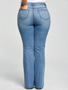 a0ecdf72fb2 27% OFF  2019 Plus Size Five Pockets Flare Jeans In DENIM BLUE 5XL ...