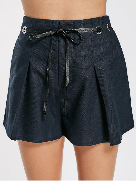 women's High Waisted Belted Lined Shorts - PURPLISH BLUE S