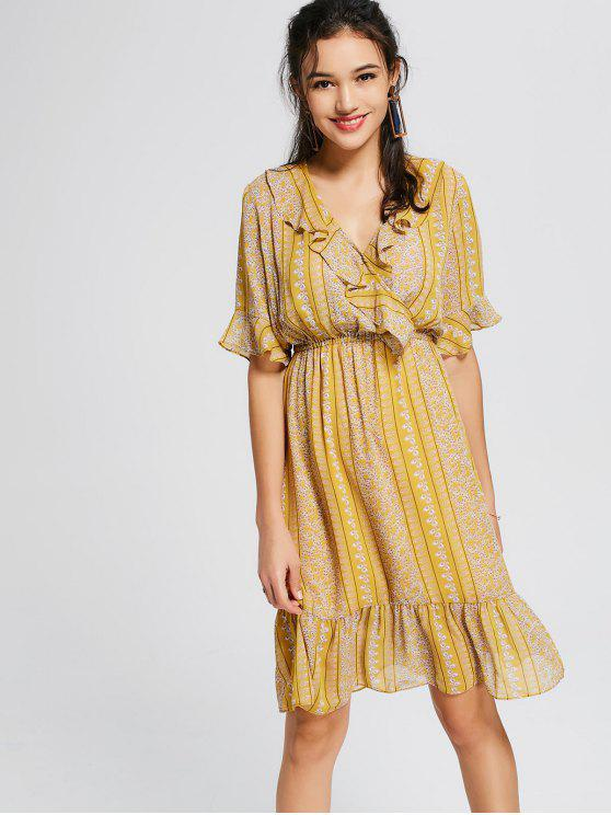 Tiny Floral Empire Waist Ruffles Robe Midi - Jaune Taille Unique(S'adap