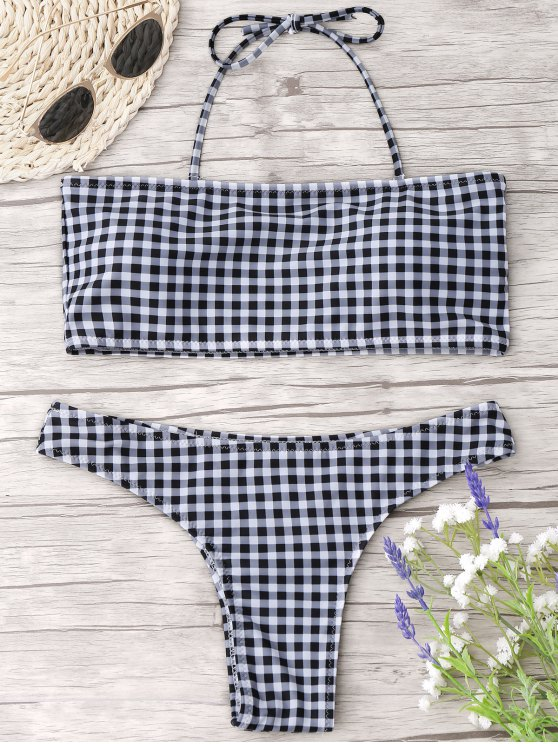 fashion Checked Halter Thong Bikini Set - CHECKED M