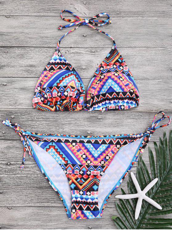 unique Halter Geometric Pattern String Bikini - COLORMIX M
