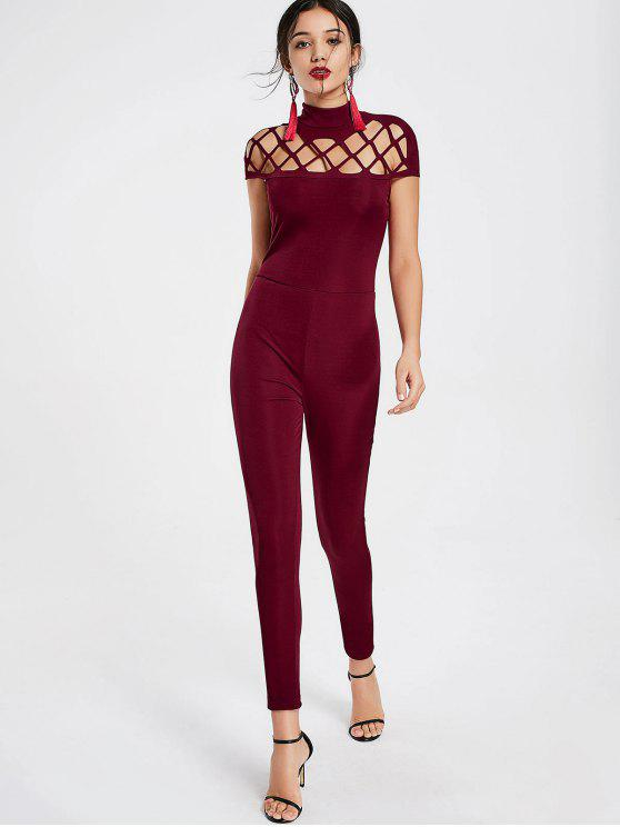 new High Neck Cut Out Jumpsuit - WINE RED XL