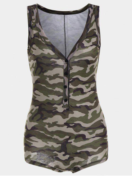 latest Plunging Neck Sleeveless Camouflage Bodysuit - CAMOUFLAGE XL