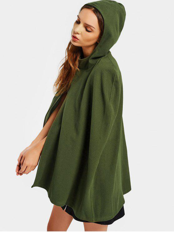Plain Hooded Cape Coat - Army Green M