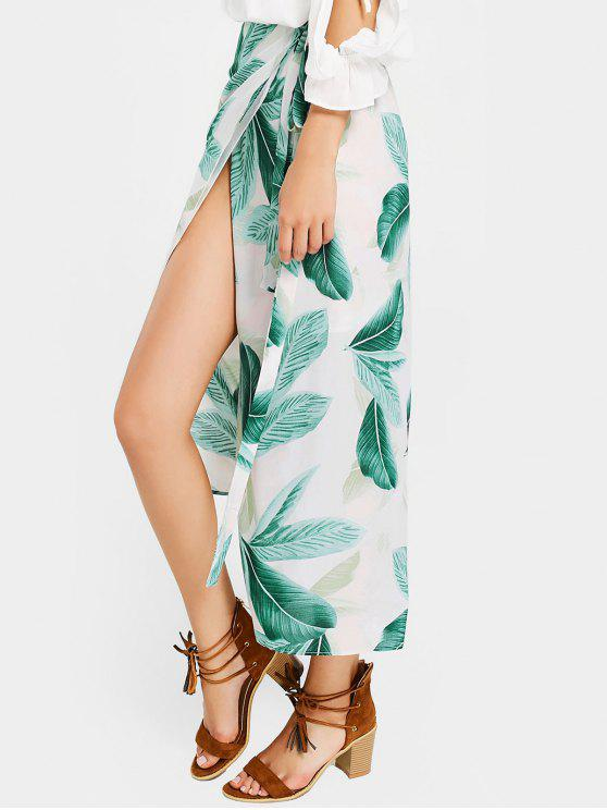 lady Leaves Print Asymmetric Wrap Skirt - WHITE AND GREEN ONE SIZE