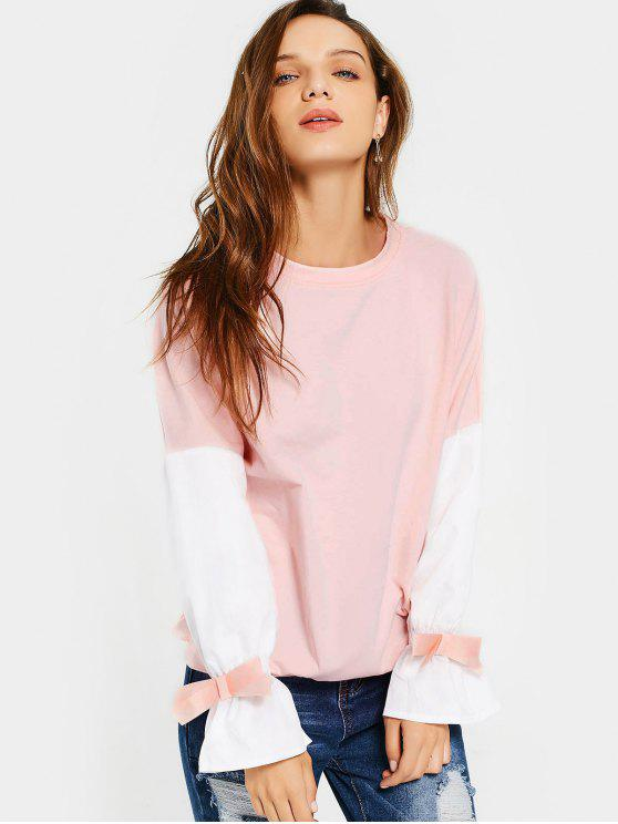 best Flare Sleeve Bowknot Contrast Tee - PINK S