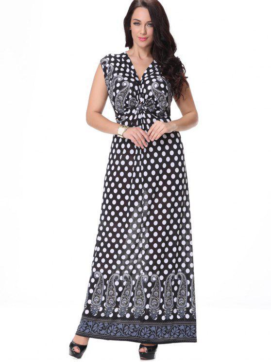 فستان طباعة البولكا نقطة ماكسي - أسود XL