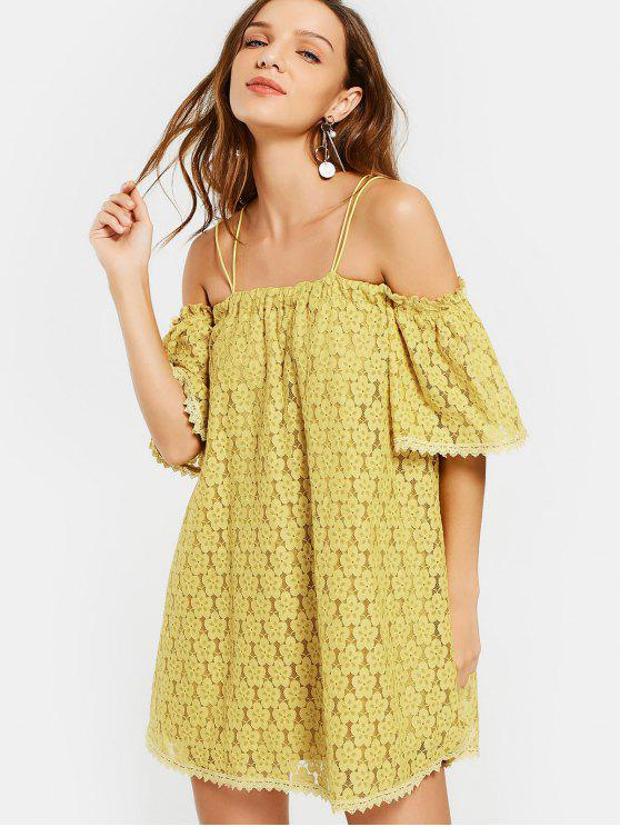 ladies Cold Shoulder Floral Cami Lace Dress - YELLOW S