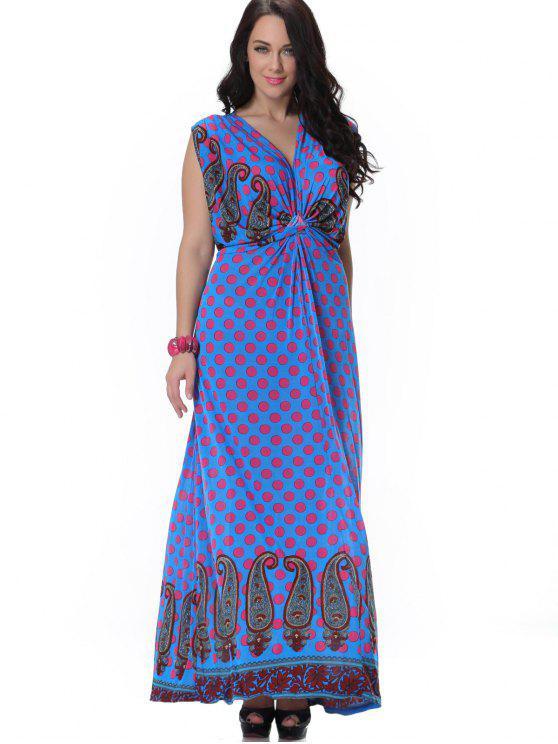 14c65508a6d 38% OFF  2019 Printed Twist Polka Dot Maxi Dress In BLUE
