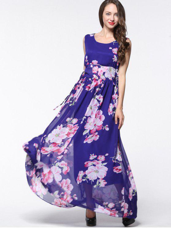 الشيفون الأزهار الدانتيل يصل فستان ماكسي - الأزهار 2XL
