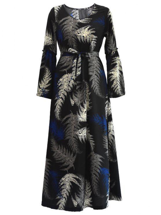 فستان طويلة الأكمام قبلي مربوط ماكسي - أسود 2XL