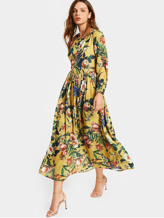 Cuello redondo de impresión floral de manga larga vestido - Floral M