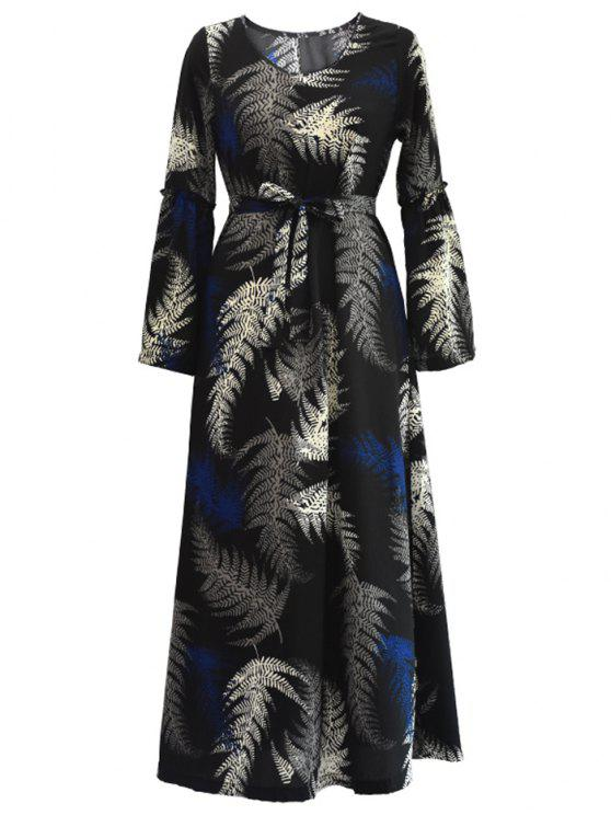 فستان طويلة الأكمام قبلي مربوط ماكسي - أسود XL