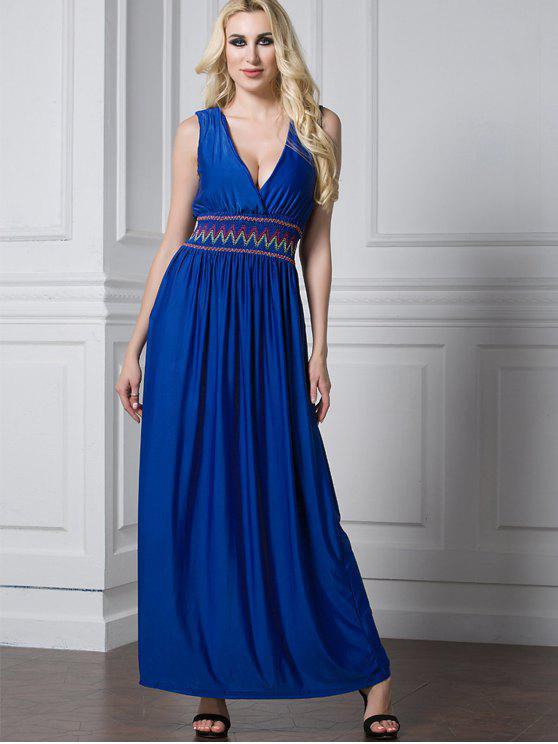 سموكيد الخصر المتعرج الزاك فستان ماكسي - أزرق XL