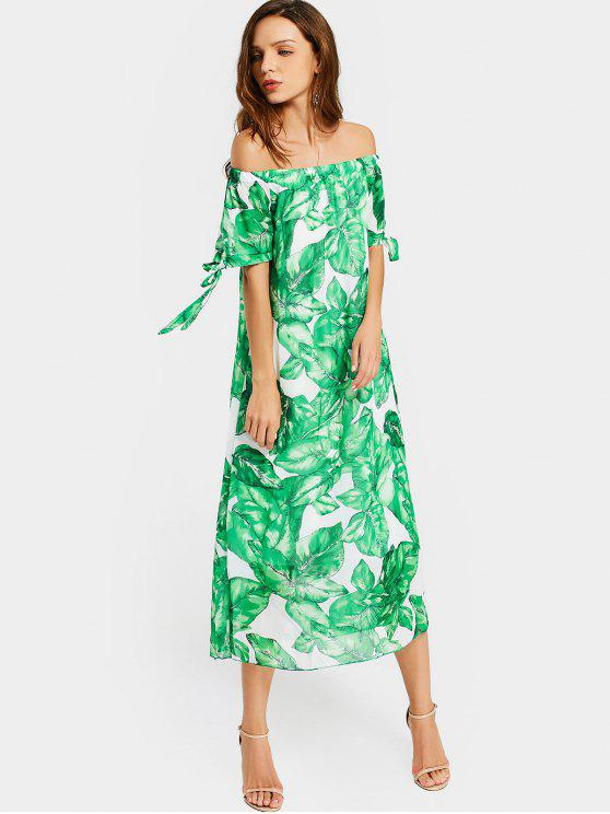 online Off The Shoulder Leaves Print Dress - WHITE AND GREEN L