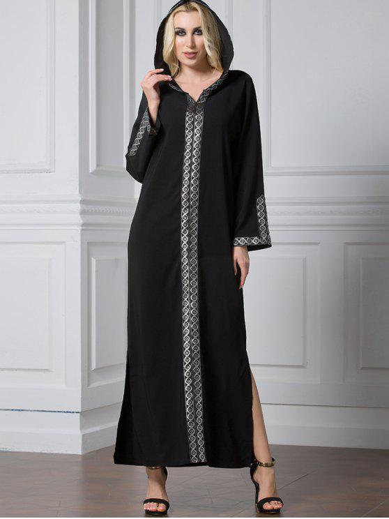 الشق كم طويل لامعة تريم فستان ماكسي - أسود 2XL