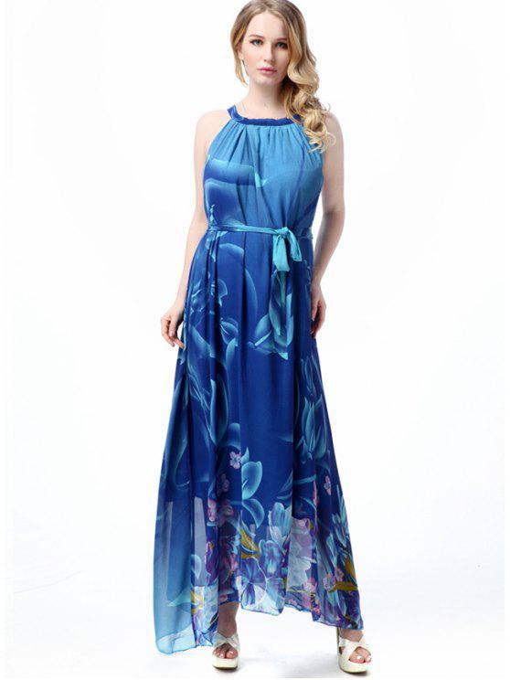 A فستان طباعة الأزهار مربوط ماكسي بخط - الأزهار L