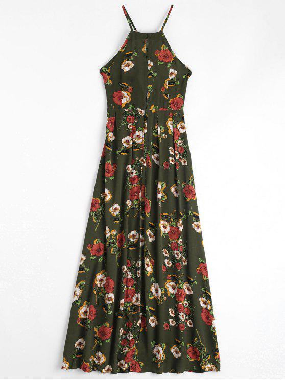 Floral Print Criss Cross Cami Dress - Vert Armée XL