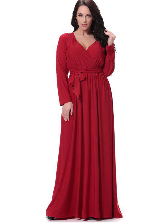 فستان طويلة الأكمام مربوط رسمي ماكسي - أحمر L