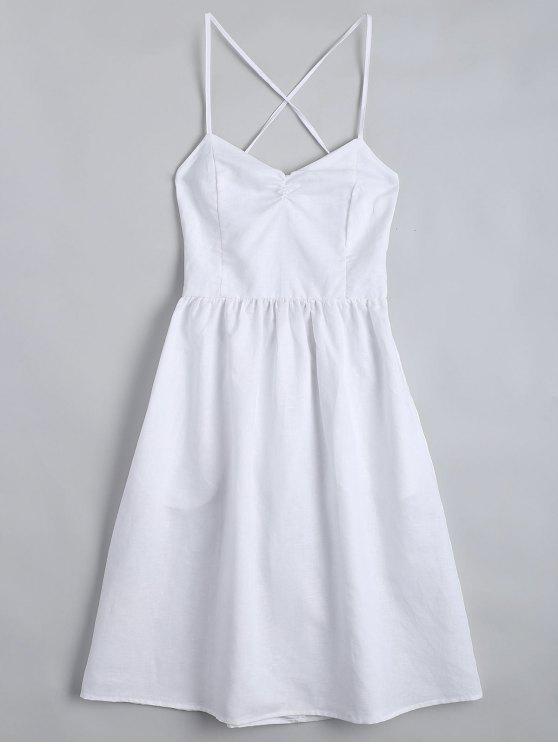 unique Open Back Criss Cross Ruched Cami Dress - WHITE S