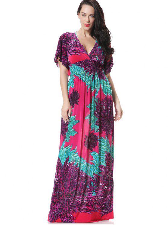 الزهور سموكيد لوحة سوربليس فستان ماكسي - أرجواني 2XL
