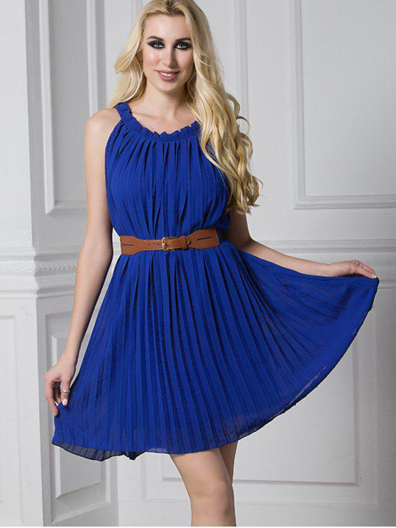 فستان مطوي مربوط كشكش مصغر - ازرق غامق L
