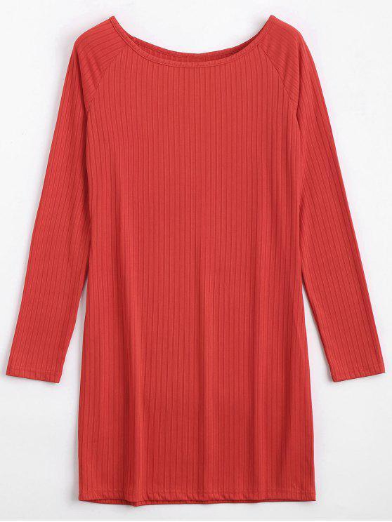 Robe miniature à manches longues Bodycon - Rouge 2XL