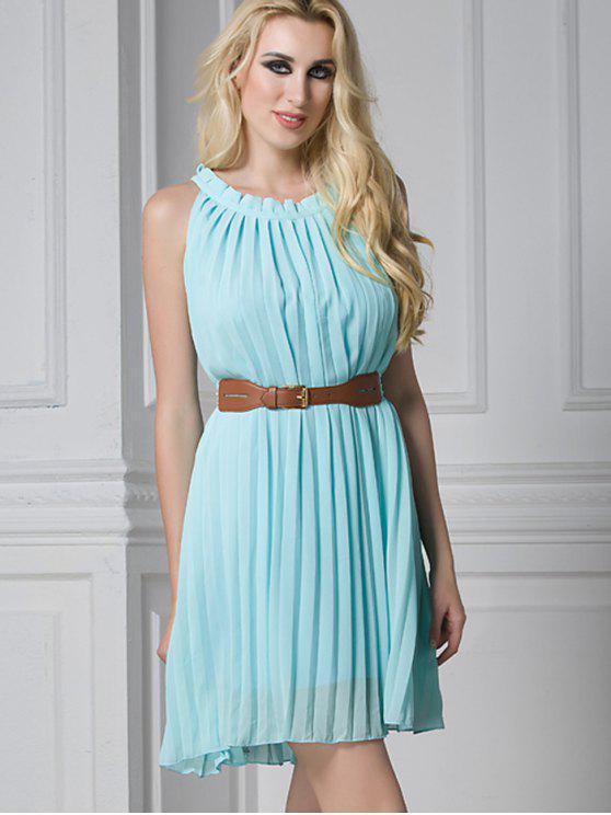 فستان مطوي مربوط كشكش مصغر - الضوء الأزرق L