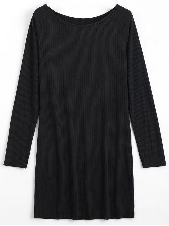 Robe miniature à manches longues Bodycon - Noir 2XL
