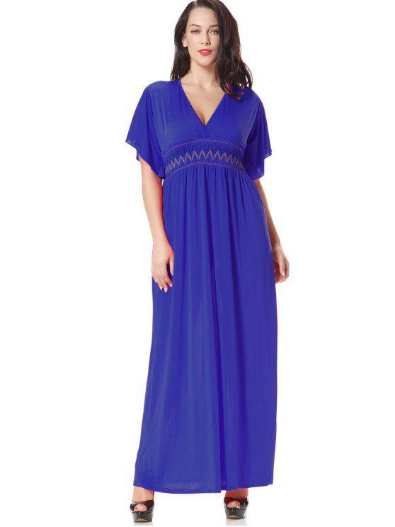 فستان سموكيد لوحة مطرز ماكسي - أزرق 2XL