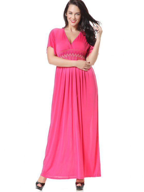 سموكيد لوحة مطرز فستان ماكسي - وردة حمراء XL