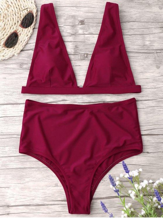 women High Waist Thong Bikini Set - WINE RED L
