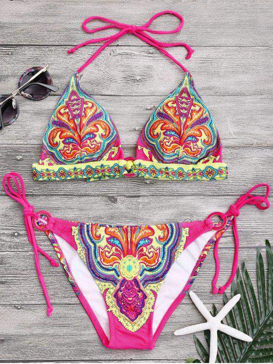 hot Halter Retro Paisley Print String Bikini - COLORMIX M