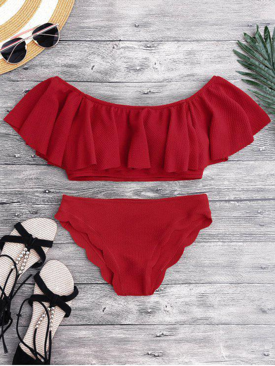 Ensemble de bikini  à encolure bateau - Rouge S