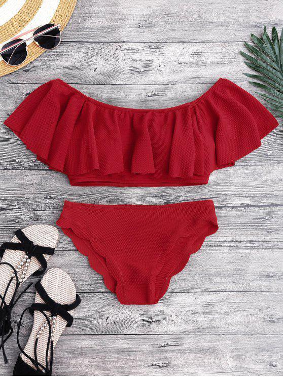 shops Scalloped Off The Shoulder Bikini Set - RED S