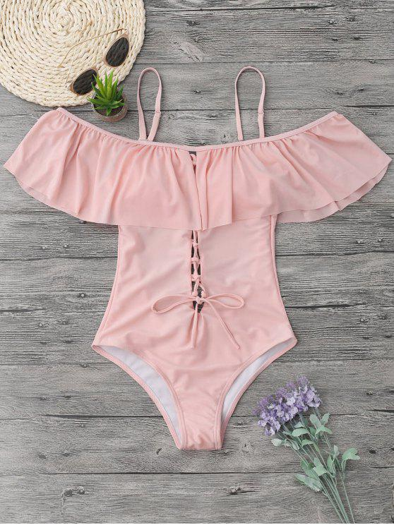 best Ruffles Lace Up Backless One Piece Swimwear - PINK L