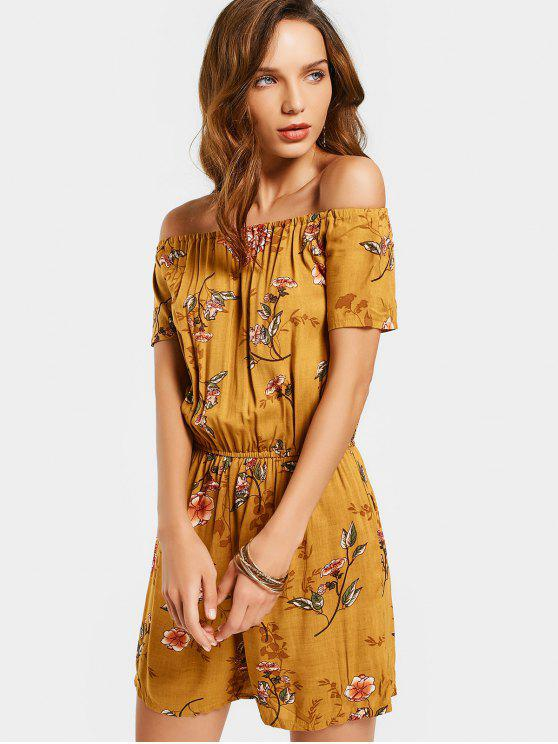 outfits Flower Print Off The Shoulder Romper - FLORAL S