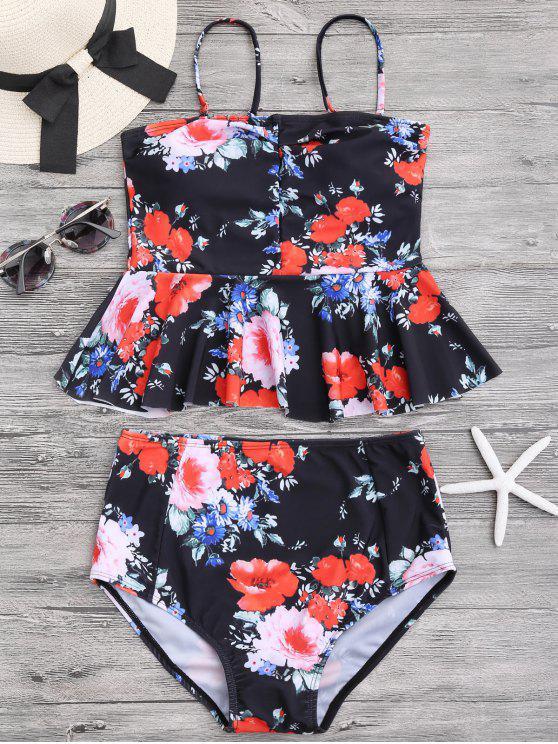 Floral Peplum Set de Tankini de Alta Cintura - Negro L