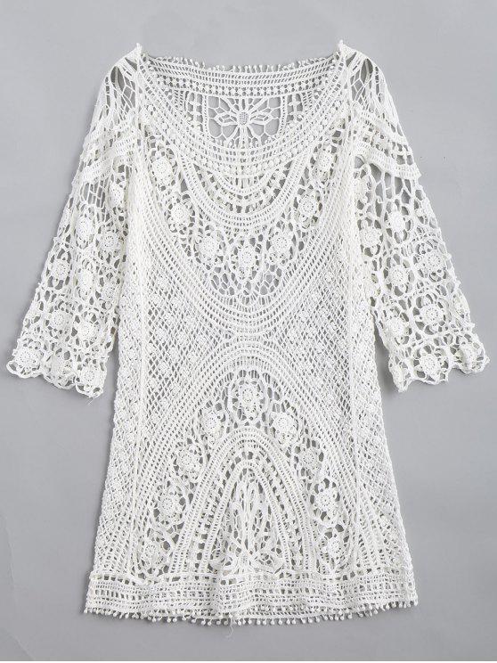 لباس المحبوك ذو فتحات محبوك طويل - أبيض حجم واحد