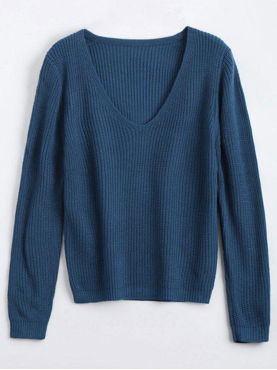 Pull Épais Décolleté Plongeant Lâche - Bleu profond Taille Unique