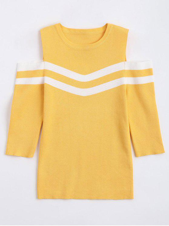 unique Stripes Panel Cold Shoulder Sweater - YELLOW ONE SIZE