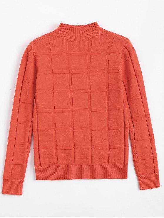 lady Square Mock Neck Sweater - ORANGEPINK ONE SIZE