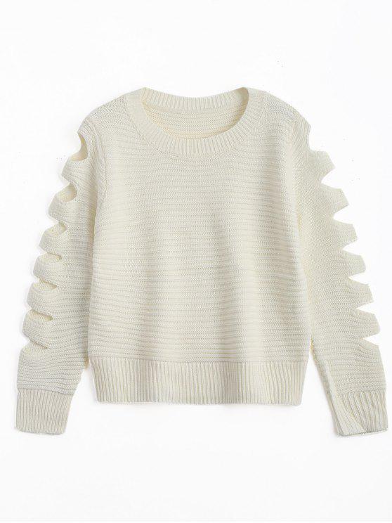 Camisola da luva do decote do pescoço do grupo - Branco Um Tamanho