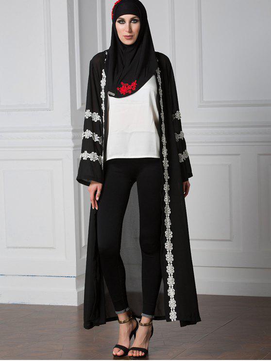 فستان مفتوحة الجبهة مطرز - أسود L