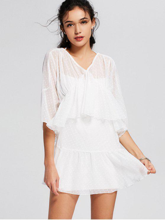 sale See Thru Ruffles Layered Mini Dress - WHITE M