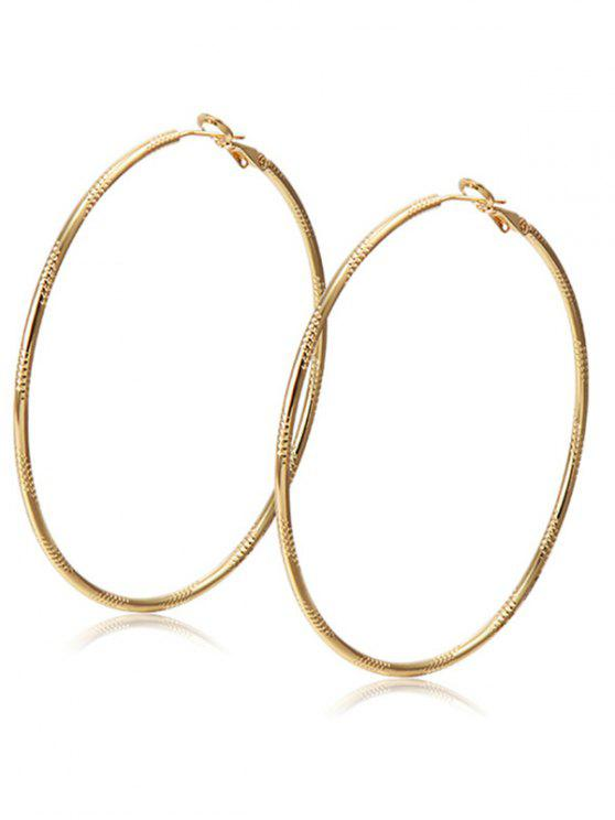 hot Alloy Engraved Hoop Earrings - CHAMPAGNE