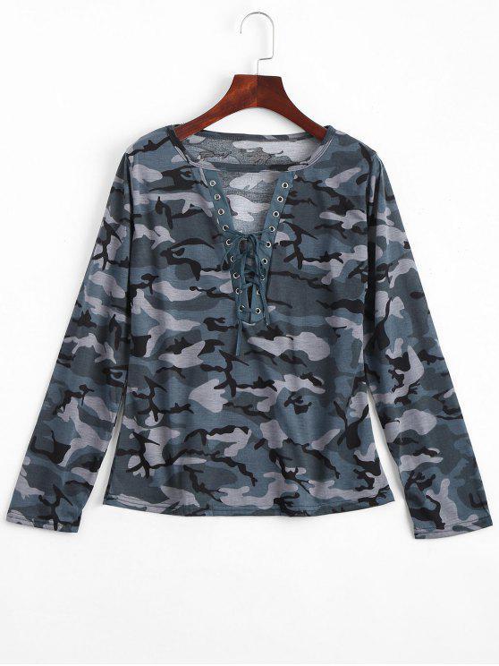 Ate la camiseta cortada del camuflaje - Azul Verde L