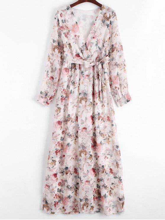 Robe à encolure imprimée à imprimé floral plongeant - Floral L